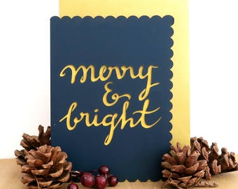 Merry & Bright papercut card, Merry Christmas card, Christmas greeting card, Winter holiday card, Christmas calligraphy card, Luxury card