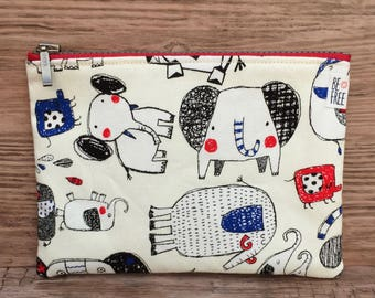Coin Purse – Cute Funny Elephants & Polka Dots Japanese Cotton Handmade Fabric Pouch, Earbuds Case, Wallet, Small Makeup Bag, Zippered