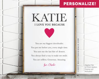 Personalized Valentine's Day Gift Printable Card Wife Birthday Reasons I love you Friend Printable Cute Wedding Spouse Girlfriend Fiance