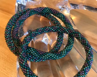 Roll On Glass Seed Bracelets, Bangles,Handmade by Yours Truly, size small, set of 3, made in USA,imported beads.