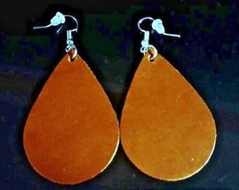 New!! Camel Leather Hand Cut Leather Earrings. Leather Tear Drop Earrings.