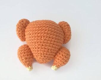 Crocheted Food, Turkey Toy, Crocheted Turkey, Amigurumi Food, Amigurumi Turkey, Chicken Meat Toy , Crochet Chicken, Kitchen Decor, Play Food
