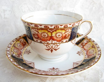 Colclough cup Cobalt Blue cup Old English Cup Longton cup Collection Collectible cup Garden tea party Grandma gift Gold Tea Cup Saucer Xmas