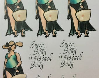 CG Vivian is Beach Bound, Honor Your Curves, Every Body is a Beach Body planner sticker sheet - (CGbb1)