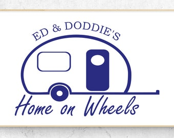 """Home on Wheels Personalized Vinyl Decal (6.1"""" x 4"""")"""