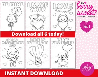 Valentine Coloring Sheets | Monster Valentine's Day Coloring Pages for Kids | Preschool Kids Coloring | Printables for Kids INSTANT DOWNLOAD