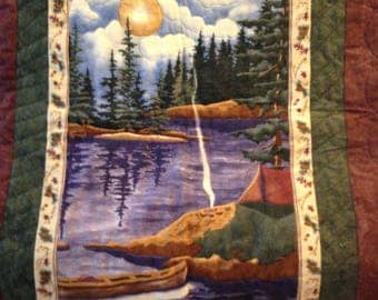 Camping by the lake wall hanging