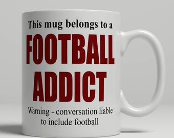 Football mug, funny football mug, football gift idea, mug for footballer birthday gift, football birthday gift idea, EB addict football