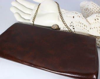 Vintage Chocolate Brown Vinyl Clutch / Handbag