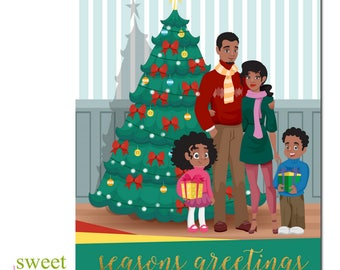 African American Christmas Card | African American Holiday Card | Black Family Christmas Card | Black Christmas Card | Boxed Set