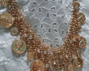 Vintage coin and crystal chain bib necklace