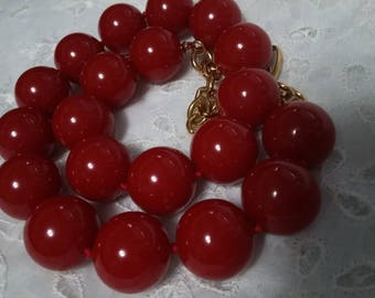 Signed Monet Hand Tied Chunky Red Beaded Choker