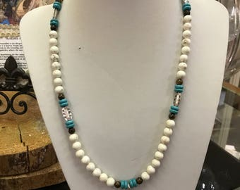 Howlite and tuquoise necklace, 24""