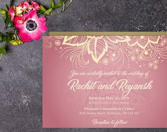 Classic Wedding Invitation with Setup, Indian Wedding, Henna Invitation, Hindu Wedding, Printable Wedding, Template, Wedding invitation