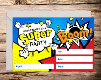 Superhero printable invitation, comic invitation, superhero, superhero birthday, superhero party, superhero invite, comic book invite