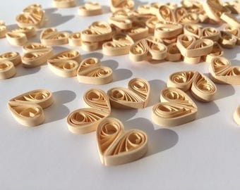 Quilled Hearts Paper Quilling Art Confetti Scatter Ornaments Gifts Fillers Valentines Mothers Day Baby Bridal Shower Wedding Cream Ivory