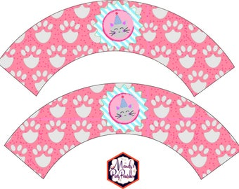 Kitty Cat Cupcake Wrappers from Kitty Cat Birthday Party Printables