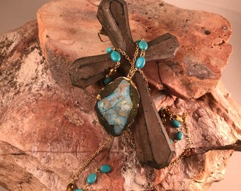 Brown blue stone, turquoise necklace