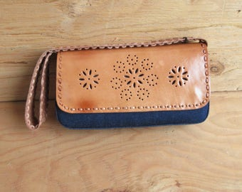 Dark Denim Natural Leather Shoulder Bag