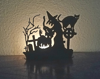 Large Halloween Witch Brewing Over Kettle Candle Holder Home Decor