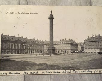 vintage postcard, postcard, vintage cards, vintage Paris postcard, vintage le colonne vendome postcard, le colonne vendome paris