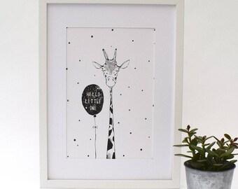Hello Little One Giraffe Print