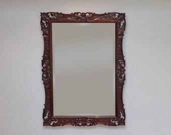 Antique Mirror, Rectangular Mirror, Pretty Mirror, Vintage Mirror, Wall Hanging Mirror, Antique Carved Mirror, Continental, Walnut Mirror