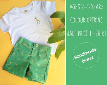 Toddler Giraffe Outfit, Kids Outfit, Giraffe Shorts, Giraffe T-shirt, Safari Outfit, Holiday Outfit, Beach Outfit, Birthday Party Outfit,