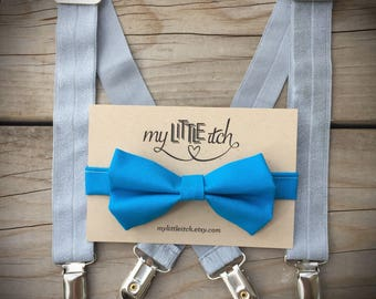 Ring Bearer Outfit Boy, Cake Smash Outfit Boy, Baby Bow Tie, Baby Suspenders, Bright Blue Bow Tie, Silver Suspenders, Ring Bearer Bow Tie