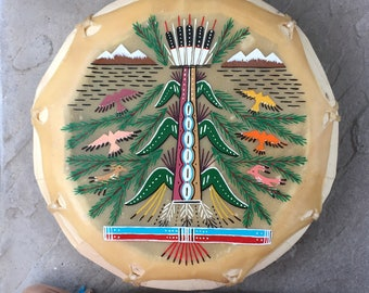 Native American, native american Drum, native american,Navajo Hand Painted Cochiti Drum with Beater. Tree of Life Design