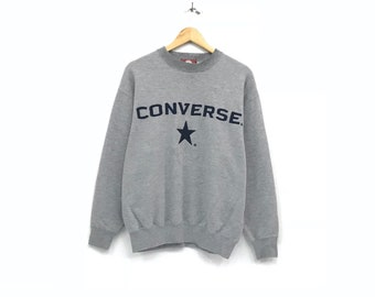 Converse crewneck Sweatshirt jumper embroidery big Spells Out Logo casual wear streetwear pullover / medium size