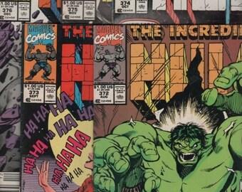 "Five Marvel Comics ""The INCREDIBLE HULK"" #372- #376"