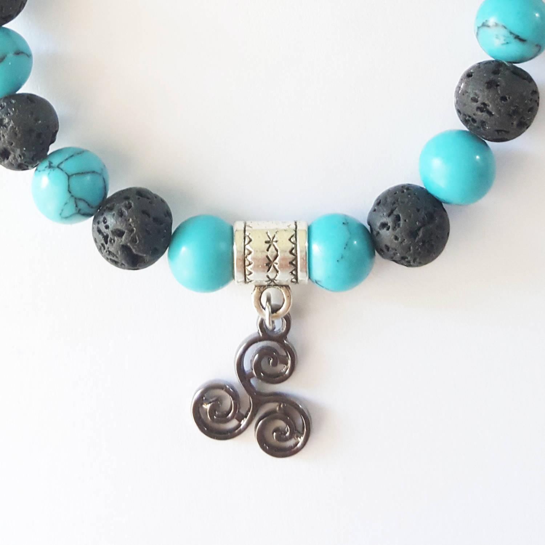 Bracelet beads gemstone lava stone and turquoise charm triskelion bracelet beads gemstone lava stone and turquoise charm triskelion celtic symbol derek hale buycottarizona Images