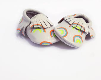 Whimsical Rainbow Baby Moccasins, rainbow baby shoes, rainbow leather moccasins, rainbow moccs, painted baby shoes, rainbows, pride