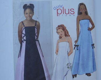 Butterick Girls Plus sizes flared long dress..UNCUT
