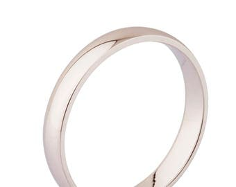 4mm Silver Half Round Wedding Ring,wedding band
