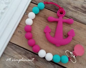 Teething toy clip. [Pink anchor].