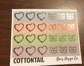 Cottontail Foil Hearts and Bows // Foiled Planner Stickers