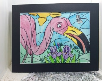 watercolor painting, Flamingo lawn ornament,  stained glass look, 11 x 14 matted FREE SHIPPING in USA