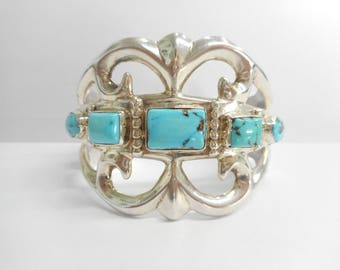 Turquoise Cuff, Sterling Cuff, Native American Cuff, Turquoise Cuffs, Sterling Silver Turquoise Cuff Bracelet HEAVY 81.3 Grams #3174