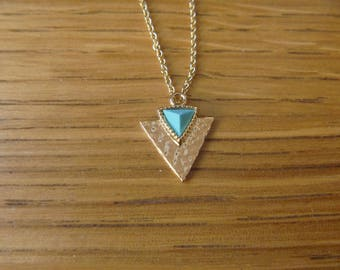 Gold and turquoise triangle necklace