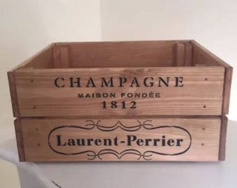 Laurent-Perrier 1812 Champagne Wooden Wine Crate Storage Box Vintage Style Shabby Chic Home Garden Gift
