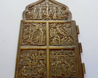 Russian Antique Orthodox Bronze  Icon- part of the folding 19c .
