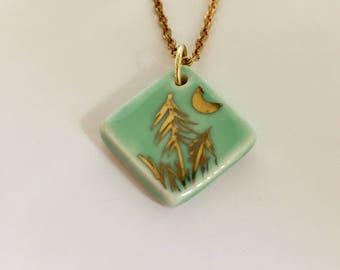 green, ceramic, porcelain, 22k gold, gold lustre trees with moon
