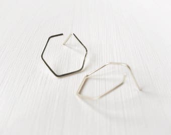 Geometric earrings, hexagon studs, eco silver, minimalist jewelry