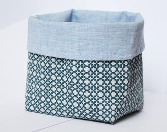 Fabric Organizer, geometric print, blue tones