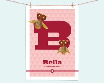 Image name, present for the birth, personalized, owl, welcome baby, girl, boy, baptism, art print nursery, A3