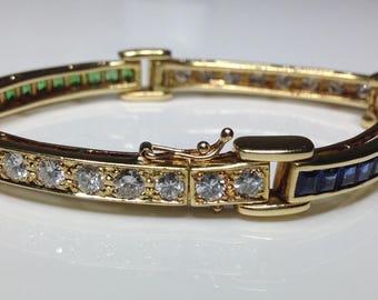 Estate 18K Gold 7.2 CTW Natural Sapphire, Savarite & Diamond Bracelet 26 Grams