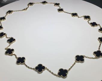"Estate 18K Yellow Gold 23"" Long Flower Clover Motif Black Onyx Necklace 45 Grams"