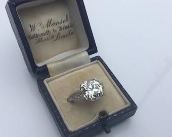 Estate Antique Platinum 4.98 CTW Old European Cut Diamond Engagement Ring